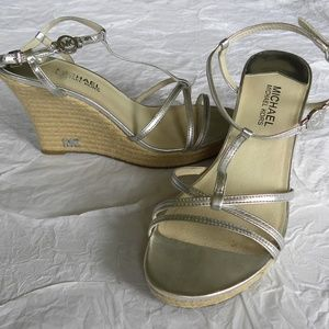 Michael Kors Silver Wedge Sandals, size 10
